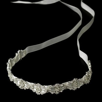 * Modern Vintage Crystal Bridal Ribbon Headband HP 6471-White
