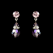 Light Amethyst Swarovski Crystal Bridal Earrings E 200