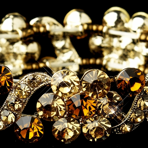 Gold Topaz Crystal Bridal Stretch Bracelet 8661