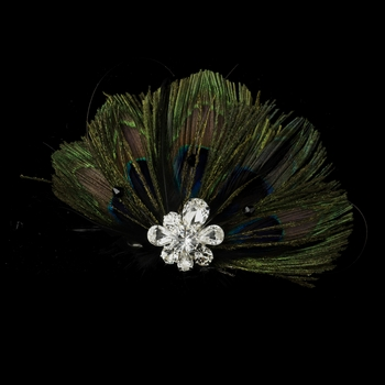 * Peacock Feather Clip w/ Rhinestone Cluster 2644