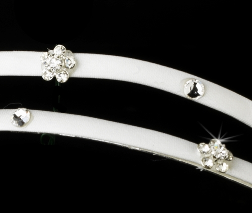 * Charming 2 Row Ivory Flower Headband w/ Clear Crystals 8289