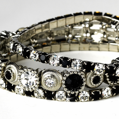 Silver Black Multi Stretch Rhinestone Bracelet B 963