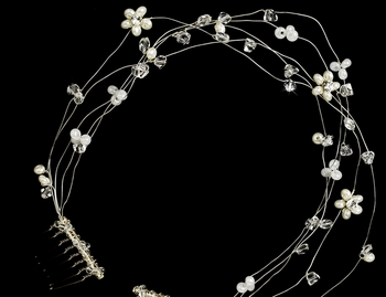 * Headpiece 6468 Silver White ***Discontinued***