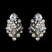 Silver Clear Rhinestone Bridal Clip On Earring 1334***Discontinued***