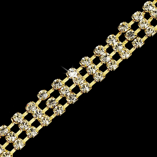 Marvelous Gold Clear 4 Row Rhinestone Bracelet 80004