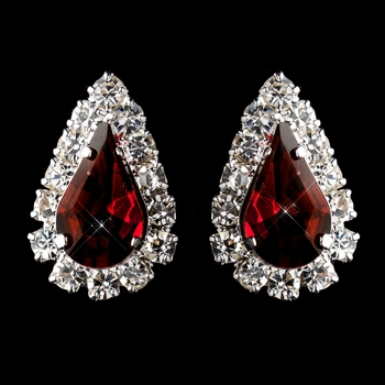 Silver Burgundy & Clear Teardrop Stud Earrings 1361
