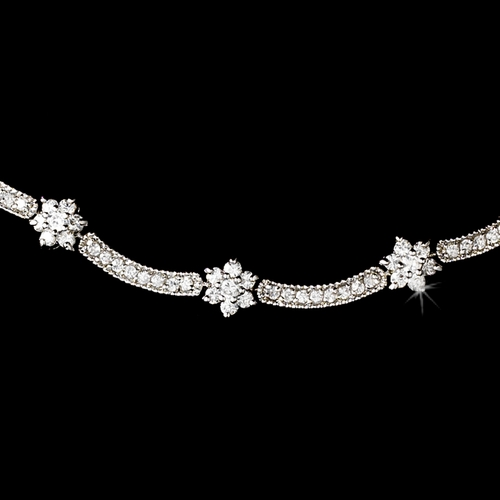 Vintage Silver Clear Cubic Zirconia Necklace N 6009