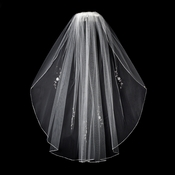 "White Bridal Wedding Veil Single Layer Elbow (30"") Veil 3379"