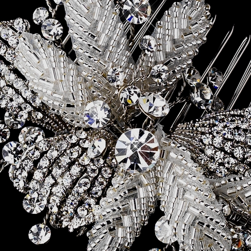 Antique Silver Crystal Flower Bridal Hair Comb 935