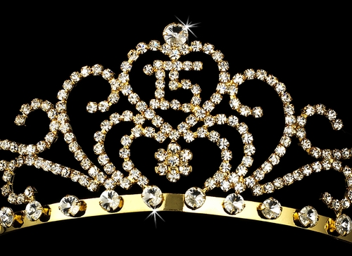 Radiant Gold Rhinestone Birthday Tiara Available in Sweet 15 or 16 Silver 6031