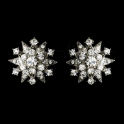 * Dazzling Antique Silver Starburst Clip-On Earrings w/ Clear Crystals 1332***Discontinued***