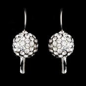 Silver Pave Crystal Ball Earrings E 950