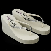Crystal High Wedge Ivory Bridal Flip Flop