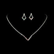 Silver AB Rhinestone Necklace & Earring Set NE 341