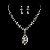 Renaissance Style Crystal Drop Jewelry Set NE 904