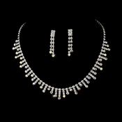 Rhinestone Necklace & Earring Set NE 3071 Silver AB