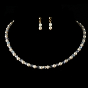 Precious Children's Gold Ivory Pearl & AB Crystal Bead Necklace & Earring Set 8443