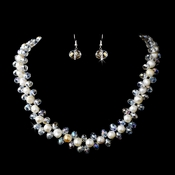 Silver Ivory Aurora Borealis Necklace Earring Set 8524
