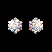 AB Aurora Crystal Cluster Clip On Bridal Earring E 500