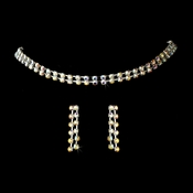 Glistening 2 Row Silver AB Rhinestone Choker Necklace & Earring Set 10024