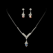 Silver AB Crystal Drop Jewelry Set NE 344