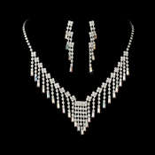 * Glamorous Silver AB Crystal Necklace & Earring Set NE 365 (ONLY 3 Left)