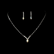 Necklace Earring Set 307 Silver AB