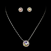 Necklace Earring Set 71576 Silver AB