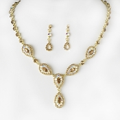 * Stunning Gold Brown AB Pave Crystal Jewelry Set NE 908