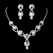 Silver Necklace & Earring Set with Aurora Borealis Crystals and Clear Rhinestones 4362