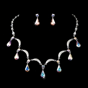 Silver Aurora Borealis Necklace Earring Set 71562