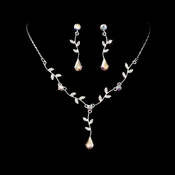 Silver AB Dangle Floral Bridal Set NE 328