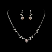* Enchanting Silver AB Floral Bridal Jewelry Set NE 330