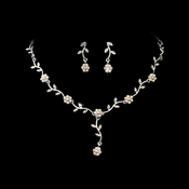 * Charming Silver AB Rhinestone Necklace & Earring Set 383