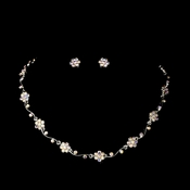 Silver AB Floral Rhinestone Necklace & Earring Set NE 384