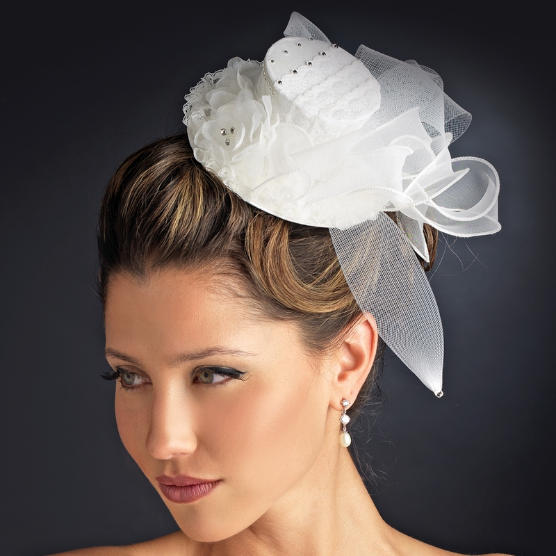 Floral Bridal Top Hat Headpiece 872 White Or Ivory