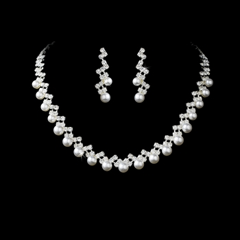 Necklace Earring Set NE 155 Silver White