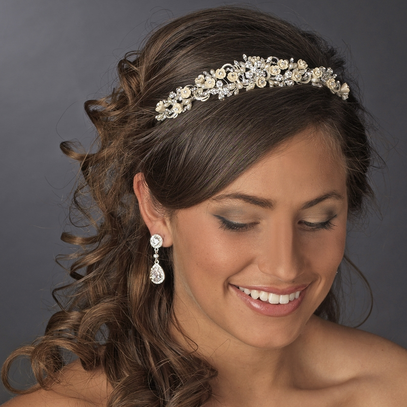 Headpieces For Wedding Guests: Floral Rhinestone Champagne Elegance Bridal Headband