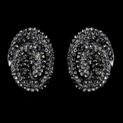 Hematite Black Diamond Crystal Clip-On Earrings E 8589