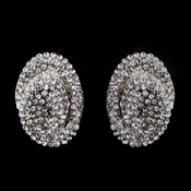 Silver Clear Crystal Clip-On Earrings E 8589