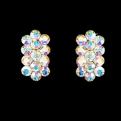 * AB Aurora Borialis Clip On Crystal Bridal Earrings E 24678