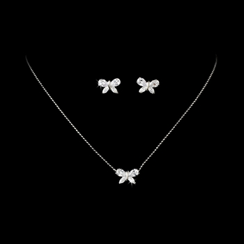 Gorgeous Silver CZ Butterfly Necklace & Earrings Set NE 2019