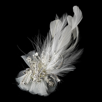 Charming Silver Clear Rhinestone Feather Bridal Hair Clip 462 or Clip Brooch Ivory or White