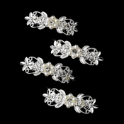 Silver Ivory Clear Mini Barrette 1115 (Set of 12)