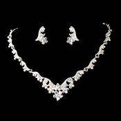 Necklace Earring Set 390 Silver AB