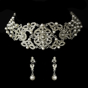 Necklace Earring Set 1977 Silver White