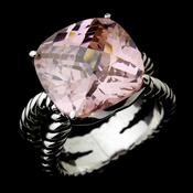 Lovely Silver Pink Cushion Cut CZ Designer Inspired Ring 2078 ***Discontinued***