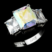 Fabulous Silver Clear & Aurora Borealis Emerald Cut CZ Ring 3322