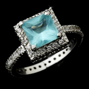 Stunning Silver Aqua Princess Cut CZ Ring 4624