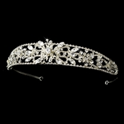 * Fabulous Silver Clear Crystal Floral Headband 84155